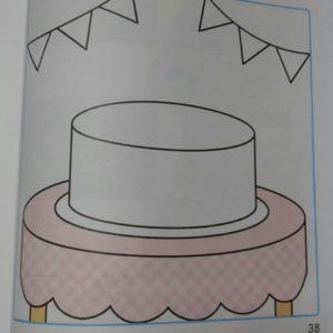 ケーキに絵を書いて飾り付け